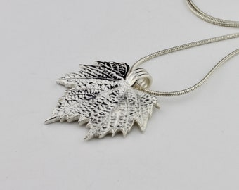 Fine Silver Artisan Grape Leaf Trio Long Adjustable Necklace by Carol Ann Bosek