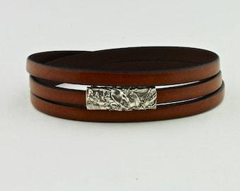 Triple Wrap Leather, Artisan Fine Silver Bead, Magnetic Clasp Bracelet - No. 105 by Carol Ann Bosek