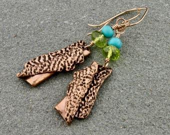 Handcrafted Copper, Peridot, Turquoise Earrings by Carol Ann Bosek