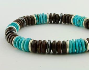 Turquoise, Coconut Shell, Hematite, Brushed Pewter Men's, Unisex Bracelet