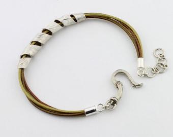 Silver Spiral, Leather Cord Bracelet