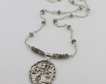 Labradorite, Handcrafted Fine Silver Pendant Necklace by Carol Ann Bosek