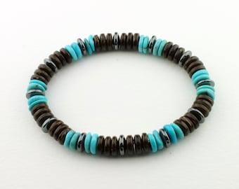 Turquoise, Brown Coconut Shell, Black Hematite Men's Stretch Bracelet