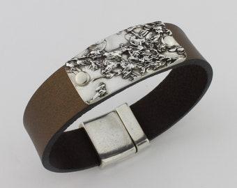 Perennial Garden, Sterling Silver, Flat Leather Band Bracelet by Carol Ann Bosek