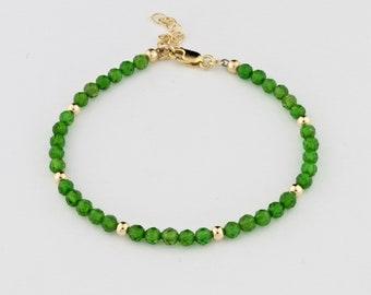 Tiny Chrome Diopside Gemstones, 14K Gold Filled Bracelet by Carol Ann Bosek