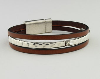 Thin Leather, Sterling Silver Bracelet in Mahogany Leather