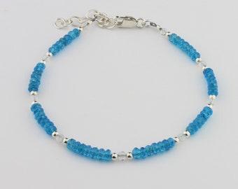 Faceted Apatite, Rainbow Moonstone, Sterling Silver Bracelet by Carol Ann Bosek