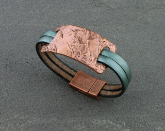 Handcrafted Copper, Wildflowers, Cuff Bracelet, Leather Band, Fern Green, Size 6 1/2 inches by Carol Ann Bosek