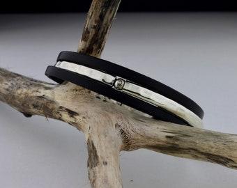 Thin Black Leather, Sterling Silver Bracelet