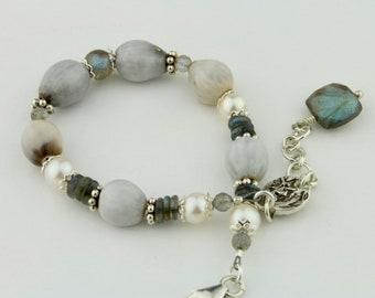 African Infabinga Seeds, Freshwater Pearls, Labradorite Bracelet by Carol Ann Bosek