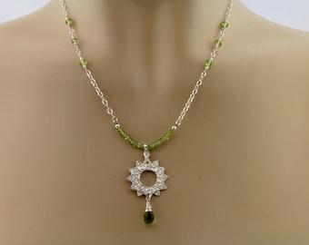 Peridot, Sterling Silver, Handcrafted Fine Silver Pendant Necklace by Carol Ann Bosek