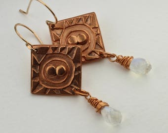 Handcrafted Copper, Rainbow Moonstone Briolettes, Earrings by Carol Ann Bosek