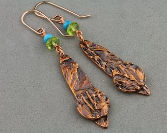 "Handcrafted copper earrings, Peridot, Persian Turquoise - ""Sencha"" by Carol Ann Bosek"