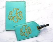 Luggage tag and passport cover set - Faux Leather - Travel Accessories - Monogram Gift Initial Embroidered