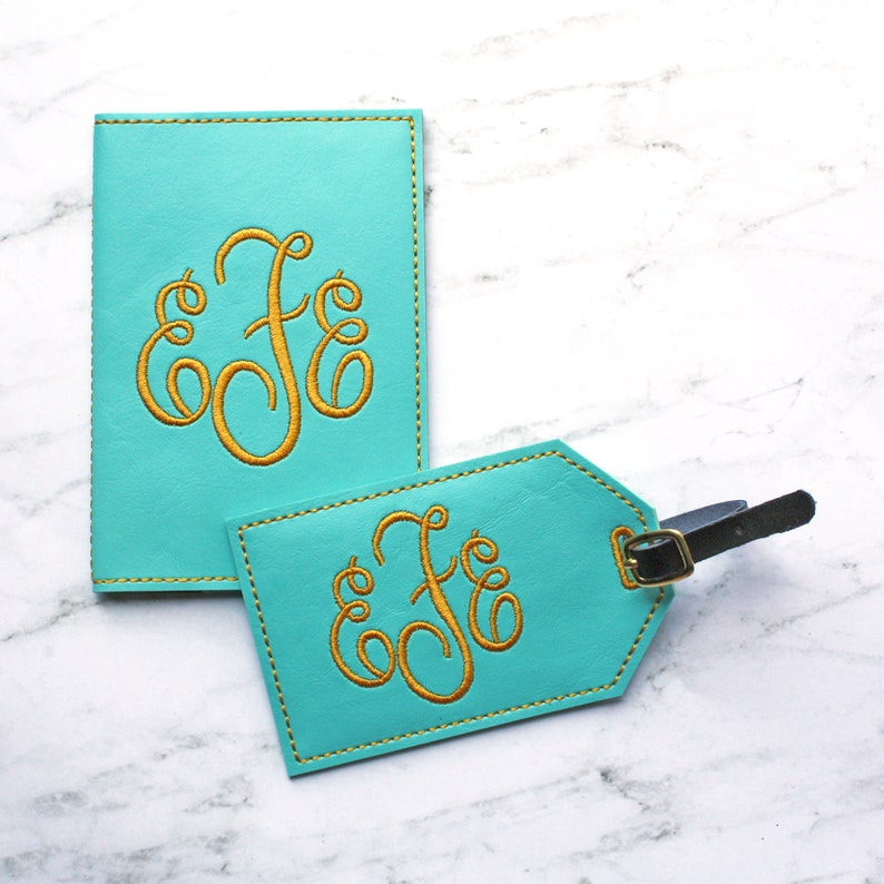 69bf862e8 Luggage tag and passport cover set Faux Leather Travel