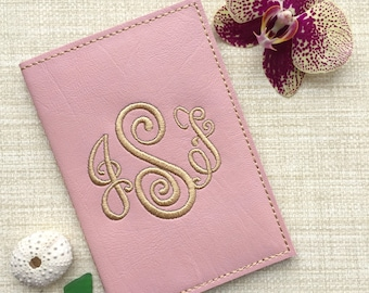 Personalized Passport Cover with Monogram, Custom Passport Holder Travel Accessory, Faux Leather Case, Wallet Gift for Her, Honeymoon Ideas