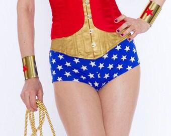 Wonder Woman style bottoms Star Print Boyshorts Briefs Blue White Lycra Cosplay Costume Swimwear S M L XL