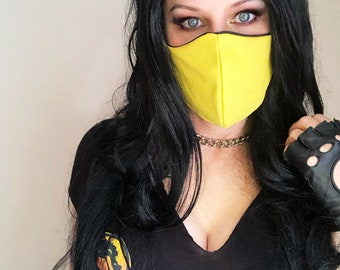Scorpion Face Mask Yellow and Black Mortal Kombat Cosplay, Washable, Reversible, Two Layers Cotton, Ships ASAP