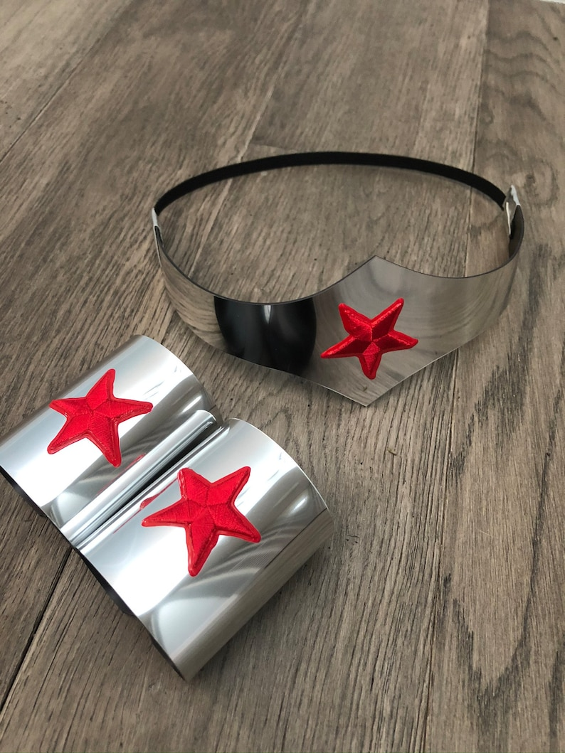 Silver Child size Wonder Woman Tiara and Cuff Bracers image 0