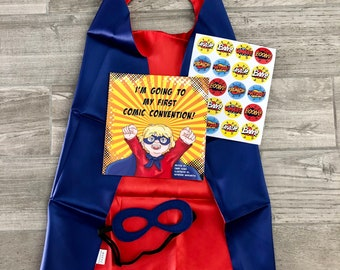 I'm Going to My First Comic Con! Super Hero gift set with book, reversible hero cape, mask and stickers