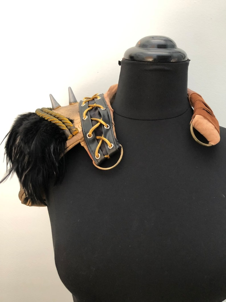 Steampunk Shoulder Armor Apocalyptic Harness Studded Black and image 0