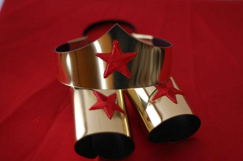 Silver Child size Classic Wonder Woman Tiara and Cuff Bracers image 0