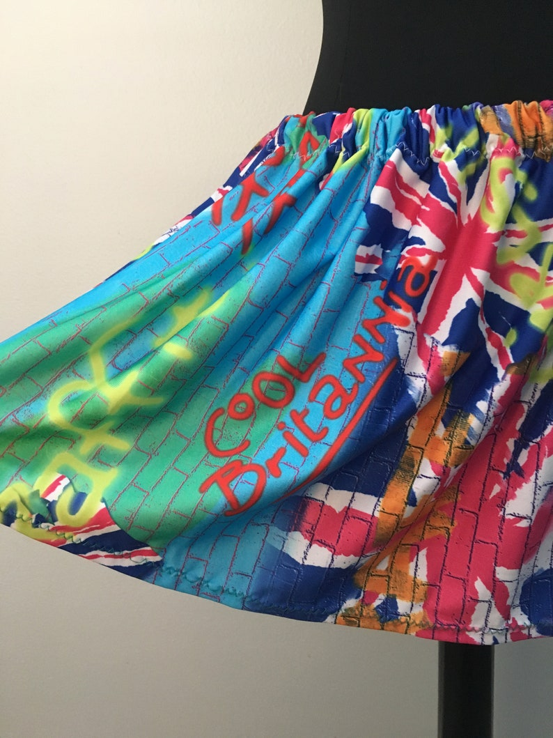 80s Brit Pop Graffiti print Mini Skirt with elastic waist fits image 0