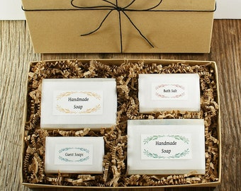 Father's Day Gift Set BOXED | Cold Process Soaps, Guest Soaps, Bath Salt, Gift Boxed, Birthday Idea, Gift Idea for Women, Gift for Men Teens