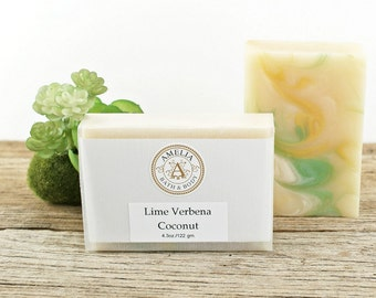 Lime Verbena Coconut Soap | Cold Process Soap, Handcrafted Soap, Bath Soap, Vegan, Fun Soap, Girlfriend Gift, Mens Gift, Soap For Kids