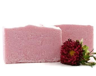 Romantic Pink Salt Soap | Feminine Romantic Scent, Sea Salt Soap, Palm Free Soap, Pink Soap, Gift for Woman Friend, Floral Woods Musk Scents