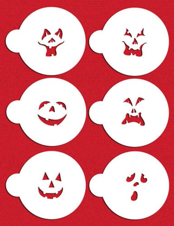 Jack-o-Lantern calabaza Halloween caras plantilla fijada para | Etsy