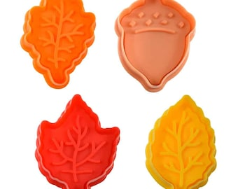 SAME DAY SHIPPING! - 4 pc Fall Leaves Cookie & Pastry Stamper Set