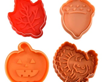 SAME DAY SHIPPING! - 4 pc Autumn Cookie & Pastry Stamper Set
