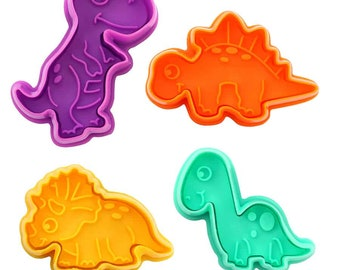 SAME DAY SHIPPING! - 4 pc Dinosaur Cookie & Pastry Stamper Set