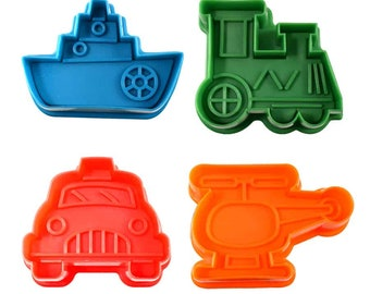 SAME DAY SHIPPING! - 4 pc Transportation Cookie & Pastry Stamper Set
