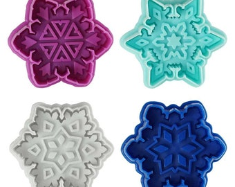 SAME DAY SHIPPING! - 4 pc Snowflake Cookie & Pastry Stamper Set