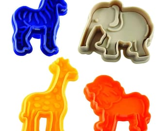 SAME DAY SHIPPING! - 4 pc Zoo / Animal Cookie & Pastry Stamper Set