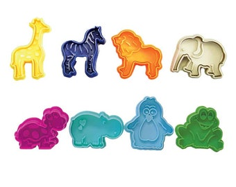 SAME DAY SHIPPING! - 8 pc Zoo / Party Animal Cookie & Pastry Stamper Set