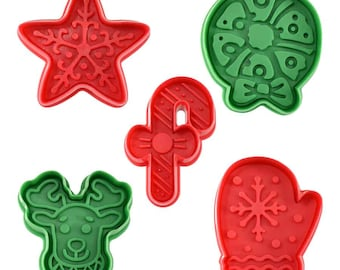 SAME DAY SHIPPING! - 5 pc Christmas Cookie & Pastry Stamper Set