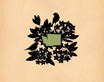Washington State Bird and Flower - Print of Original Papercut
