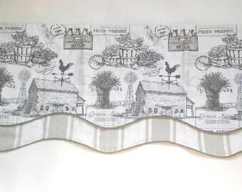 Layered Scalloped Valance- Lined Window Valance - Window Treatment - Farm Fresh Fabric - Grey - Taupe - Beige - - Kitchen - Living Room