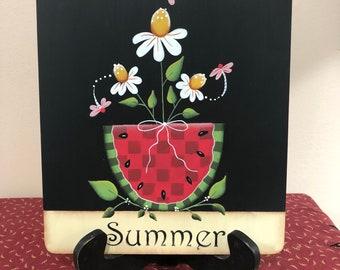 Summer Wood Bamboo Cutting Board-Kitchen Home Decor-Watermelon-Daisies