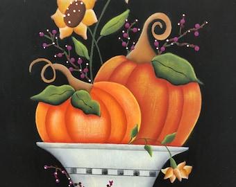Fall Pumpkin Sunflower Bamboo Wood Cutting Board-Kitchen Decoration-Hand Painted