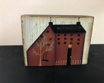 Primitive Burgundy Saltbox House Wood Shelf Sitter-Home Decor