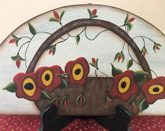 Primitive Poppy Flower Basket Wood Door Crown-Home Decor