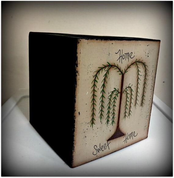 Primitive Willow Tree-Paper Mache Tissue Box-Bath home Decor
