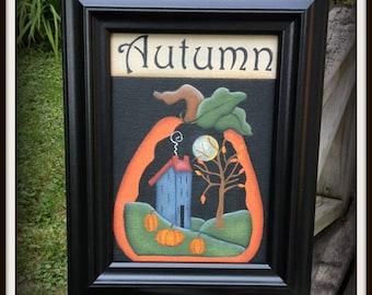 Primitive Fall Pumpkin Saltbox House Autumn Framed 5 x 7 Canvas
