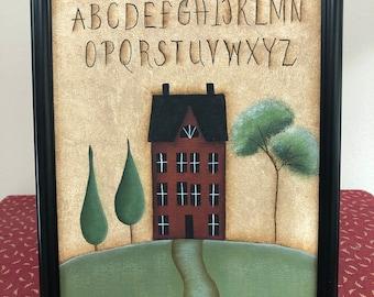 Primitive Saltbox House-Alphabet 8 x 10 Canvas-Framed