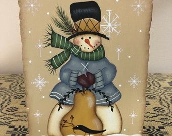 Snowman Pear Crow Standing Wood Plaque-Holiday Christmas Decoration