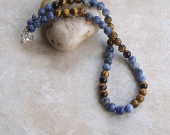 Mens bead necklace with brown tigers eye and blue spot beads
